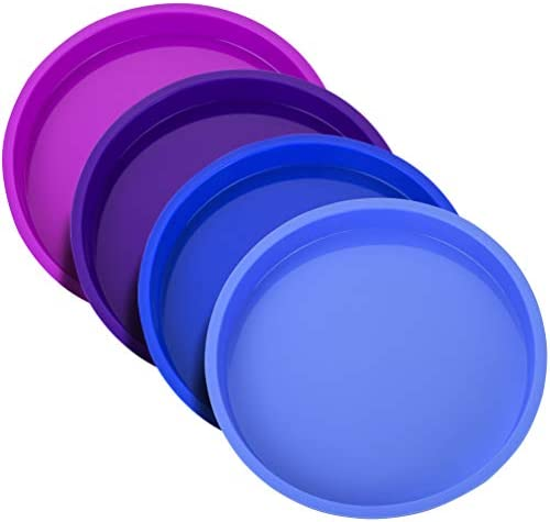 Uarter 8 Inch Cake Pan Rainbow Cake Tins Silicone Round Cake Mould Set 4 Pieces Non Stick Baking product image