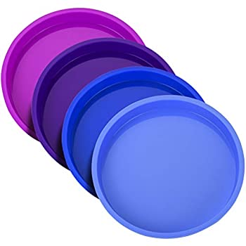 Uarter 8 Inch Cake Pan Rainbow Cake Tins Silicone Round Cake Mould Set 4 Pieces Non-Stick Baking Tins for Vegetable Pancakes Pizza Crust Omelet