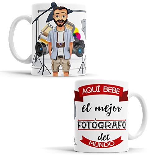 OyC Original y Creativo Taza para Fotógrafo - Taza Aquí Bebe el Mejor Fotógrafo del Mundo - Taza Regalo para Fotógrafo - Taza con Frase y Dibujo (Fotógrafo)