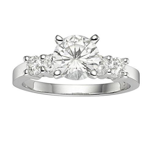 Charles & Colvard Virtual Stock anello di fidanzamento - oro bianco con 14K - Moissanite da 6.5 mm con taglio rotondo, 1.4 kt, taglia 14