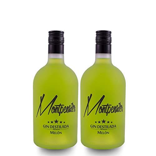 Pack de 2 botellas Montpensier Gin Premium. 5 destilaciones y 10 botánicos. Ginebra Andaluza. (2 Melón)