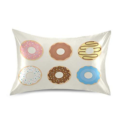 iRoad - Funda de almohada de microfibra 100% con diseño de donut de dibujos animados de satén, fundas de almohada suaves para cabello y piel, tamaño king de 50,8 x 101,6 cm