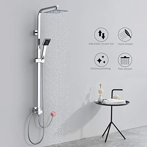 BONADE Edelstahl Duschset Ohne Armatur Duschsystem Duschkopf Regendusche mit Wandhalterung Badewanne Duschsäule Ohne Thermostat für Bad Badzimmmer