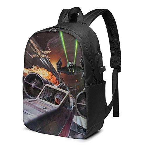 QQIAEJIA R2 D2 Tie Fighter USB Backpack 17 in Unisex Laptop Backpack Travel,Durable Waterproof with USB Charging Port for School College Students Backpack 396