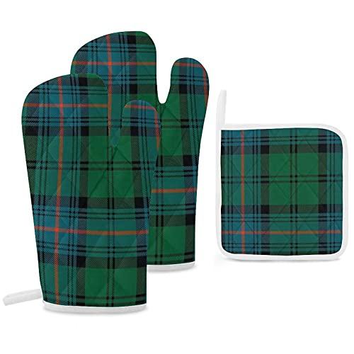 Clan Armstrong Lot de 3 maniques et maniques en tartan antidérapants réutilisables pour la cuisine, la pâtisserie, le barbecue et le...