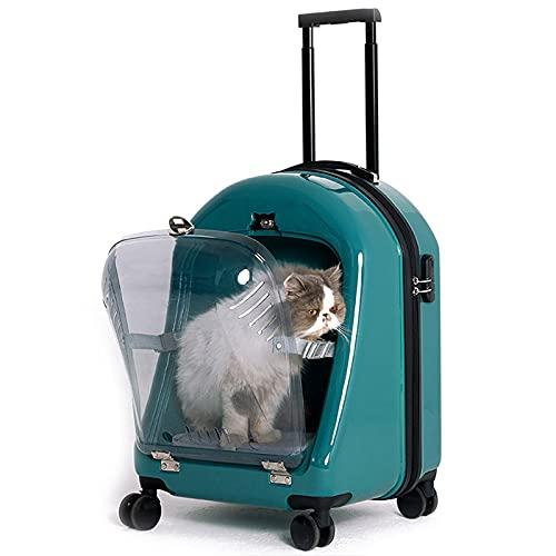 DUTUI Maleta con Carrito para Mascotas, Caja De Salida Portátil para Mascotas con Rueda Universal, Caja De Equipaje Transpirable, Caja De Viaje para Gatos Y Perros