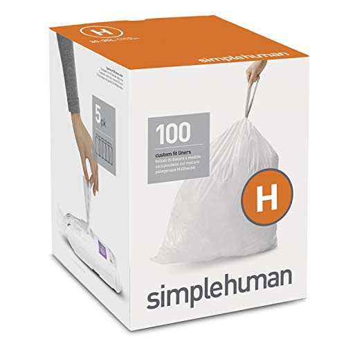 simplehuman Liners, 100 Count (Pack of 1), White