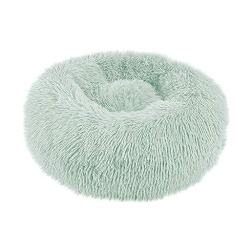 Yowablo Haustierbett Hund Runde Katze Winter Warme Schlafsack Lange Plüsch Weiche Beruhigende Bett (40 * 40 * 20cm,4- Grün)