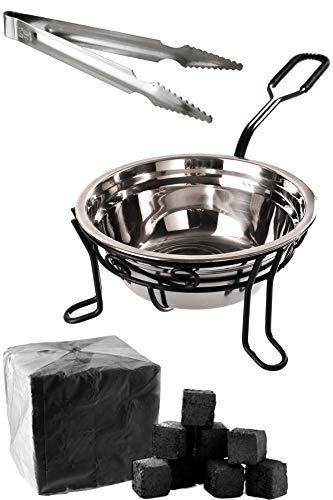 Kaya Shisha – Cesta de carbón para shisha con pinzas de acero inoxidable + 1 kg de carbón natural para shisha [pequeño, inoxidable, estable y brillante] – Accesorios para shisha