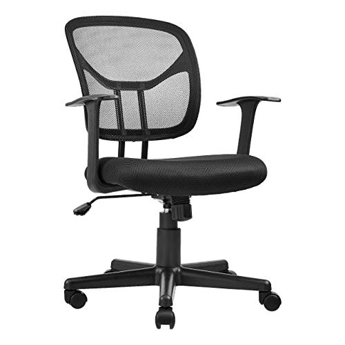 AmazonBasics Mid-Back Desk Office Chair with Armrests - Mesh Back, Swivels - Black, BIFMA Certified