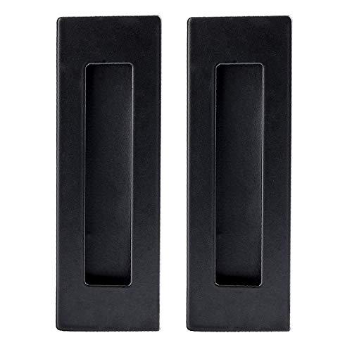 2 Pack Rectangular Flat Plate Recessed Flush Sliding Pocket Door Handles, Recessed Black Sliding Barn Door Handle, 1' Inset, Hidden Screws, Mount Screws Included