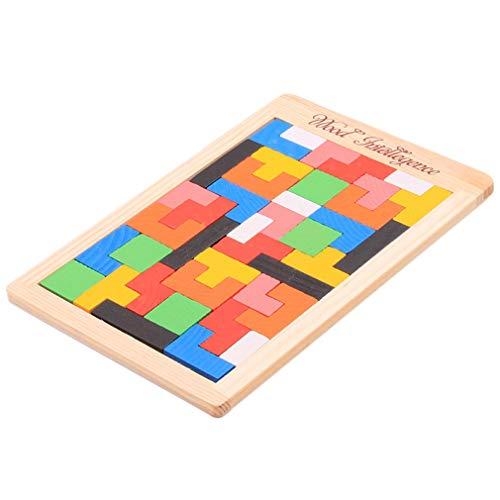 Fliyeong Juego de rompecabezas de madera para niños con diseño de bloques de tetris de juguete de construcción colorido regalo educativo práctico y popular