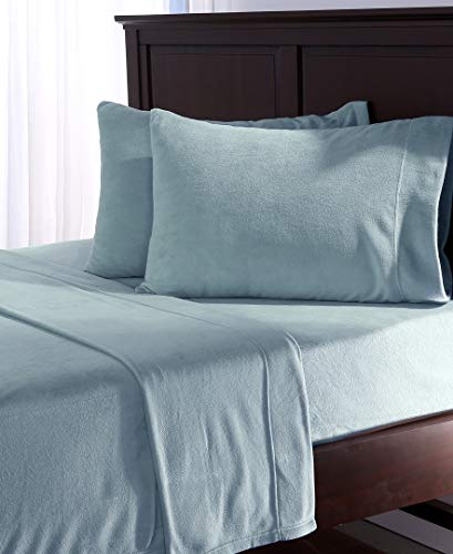 Berkshire Blanket Polarfleece Sheet Set | Heavyweight Warmth | Super Soft Warm Cozy Fleece Sheets | Light Blue | Full (80' x 90')