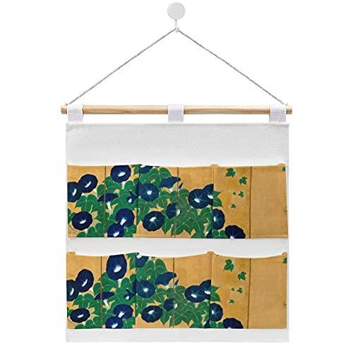 Morning Glories Early Th Century Bolsa de almacenamiento de algodón y lino de tela para colgar en la pared, organizador para colgar 6 bolsillos