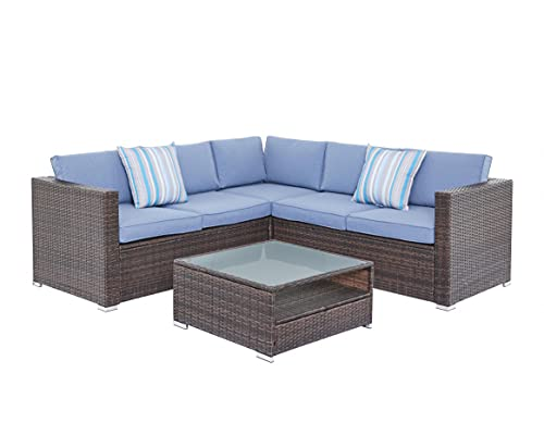 Corner Sofa Rattan Garden Furniture Set L Shaped Patio Seating with Coffee Table Outdoor Dining Set (Brown with Blue Cushions)