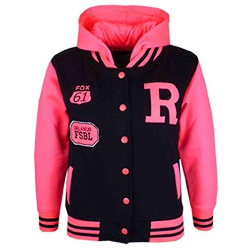 A2Z 4 Kids Unisex Kinder R Fashion Aufdruck - Baseball Jacket Schwarz & Neon Pink 9-10