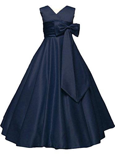 (ドリーム企画)dreamkikaku 子供ドレス ロングドレス ガールズ 演奏会 結婚式 発表会 ロングドレス (160, ネイビー)