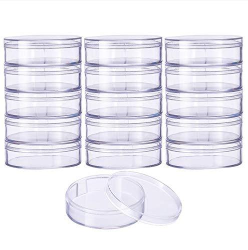 BENECREAT 18 Pack Große, runde, hochtransparente Kunststoffperlen-Aufbewahrungsbehälter Schachtel für Kosmetikartikel, kleine Perlen, Jewerlry-Ergebnisse und andere kleine Gegenstände - 6,2 x 2 cm