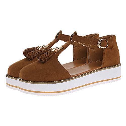 jdiw Sandalias de Vestir para Mujer Chanclas Cuña Shoes Plataforma Verano Cuero Confort Zuecos Mules Baotou Borla Hebilla Sandalias Calzado Playa