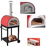 Forno a Legna e Gas per Pizza in Acciaio da Esterno Barbecue Giardino con Refrattario Bruciatore...