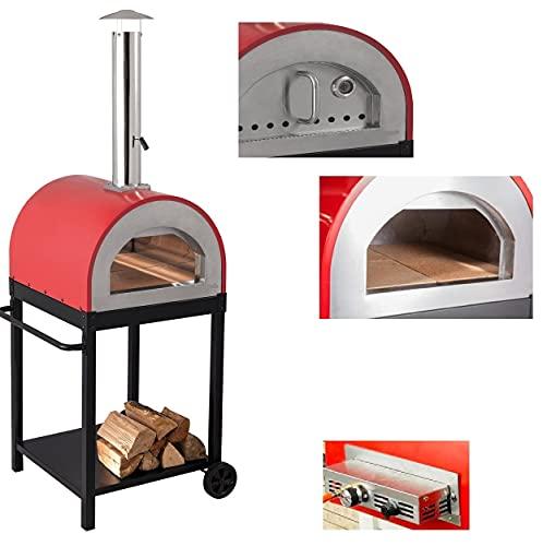 Forno a Legna e Gas per Pizza in Acciaio da Esterno Barbecue Giardino con Refrattario Bruciatore Incluso
