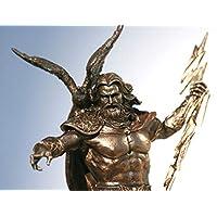 Figura decorativa con acabado de bronce, diseño de Dios Zeus Júpiter