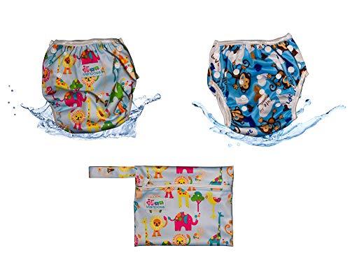 MARIPOSA | Costume Neonato Mare - Pannolino Contenitivo Lavabile e Regolabile - Bambino 0-2 anni - Set 2 Pannolini Piscina con Borsetta Impermeabile inclusa