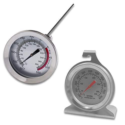 Set di 2 termometro da forno in acciaio inox e termometro a stelo lungo per friggere SourceTon, termometro da forno con gancio e base a pannello e termometro da 30,5 cm