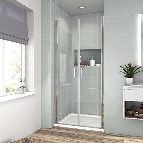 70cm Doppel Duschtür Pendeltür Duschkabine Duschabtrennung mit Beidseitiger Nano Beschichtung Höhe 195cm