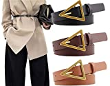 Longwu [3 paquetes] Cinturón de cuero PU de moda para mujer Cinturón de hebilla triangular para mujer para jeans de vestir