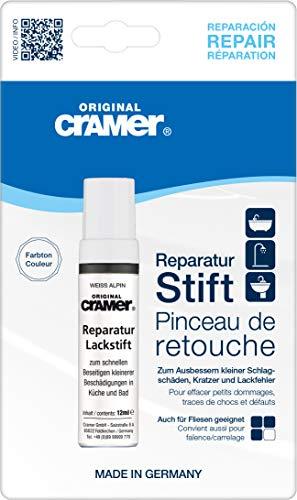 Cramer Reparatur-Lackstift Email, Acryl, Keramik - Sanitärlack zum Ausbessern kleinerer Schäden an Badewannen, Duschwannen, Waschbecken und Fliesen (080 Weiß Alpin)