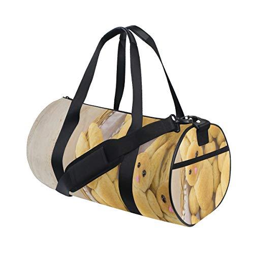ZOMOY Sporttasche,Foto netten selbst gemachten Kaninchen Plätzchen für Feiertags Festliche köstliche Zeit Kunst,Neue Bedruckte Eimer Sporttasche Fitness Taschen Reisetasche Gepäck Leinwand Handtasche