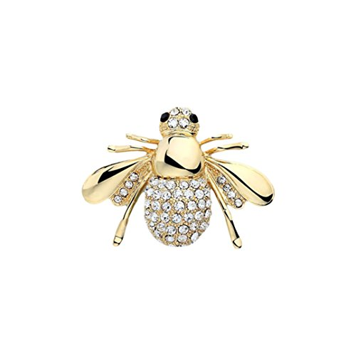 Eleusine Brooches for Women, 3D Lovely Bee Animal Rhinestone Brooch Pin (Gold)