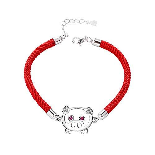 L.J.J 925 Sterling Silber Nettes Schwein Armband Frauen Einstellbare Rote Seil Schmuck Tierzeichen Zubehör