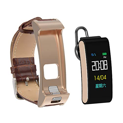 A9S Smart Talkband 2 in 1 Bluetooth Headset Smart Wristwatch Band Music Control Pedometer Sleep Monitor Smartband Watch Bracelet (Brown Leather Band)