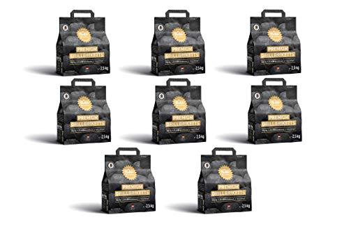 Gartenwelt Riegelsberger Kohle Manufaktur Premium Grillbriketts rauchfrei* bis zu 4,5 Std. Brenndauer Made in Germany 8X 2,5 kg Set (20 kg)