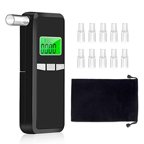Beedove Alcoholimetros, Probador De Alcohol Portátil LCD Digital Pantalla Profesional, con Función Alta precisión Sensor Semiconductor y 10 Boquillas