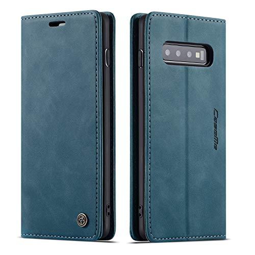 UEEBAI Handyhülle für Samsung Galaxy S10, Retro Matte Handyhülle PU Fallschutz Lederhülle Weich TPU Klapphülle mit Kartenfach Standfunktion Magnetverschluss Flip Hülle Handytasche - Blau