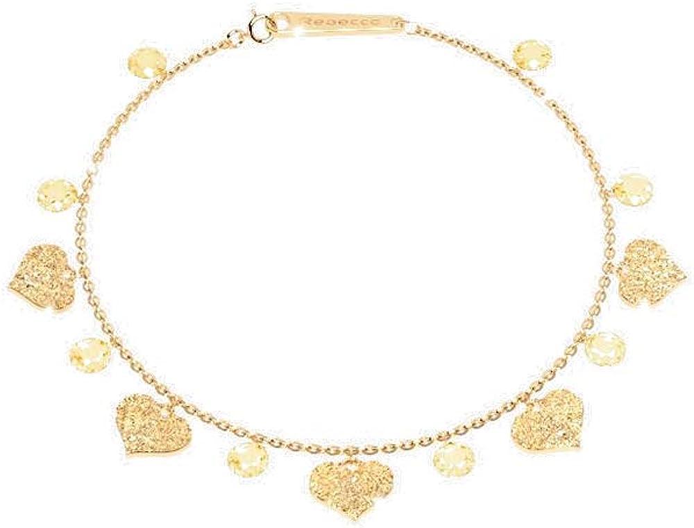 Rebecca bracciale per donna in argento gold pietre bianche e ciondoli a forma di cuore SLCBOC12