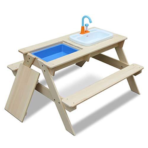 Coemo Kindersitzgruppe und Sand- und Wasserspieltisch Robin Matschtisch mit Waschbecken Picknicktisch Wasserbecken mit angeschlossenem Wasserhahn