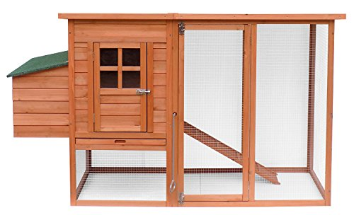 Merax Natural Wood Color Chicken Wooden Coop with Nesting House and Tray