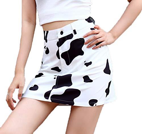 keepmore Falda de Mujer con Estampado de Vaca lechera Falda de Cintura Alta Delgada de una línea