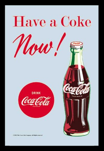empireposter Coca Cola - Now! - Bedruckter Spiegel mit Kunststoff Rahmen in Holzoptik, Kult-Spiegel - 20x30 cm