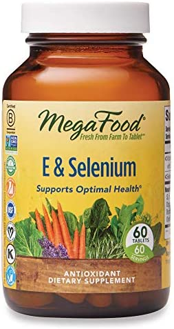 MegaFood, E & Selenium, Supports Optimal Health, Antioxidant Supplement, Gluten Free, Vegan, 60 Tablets