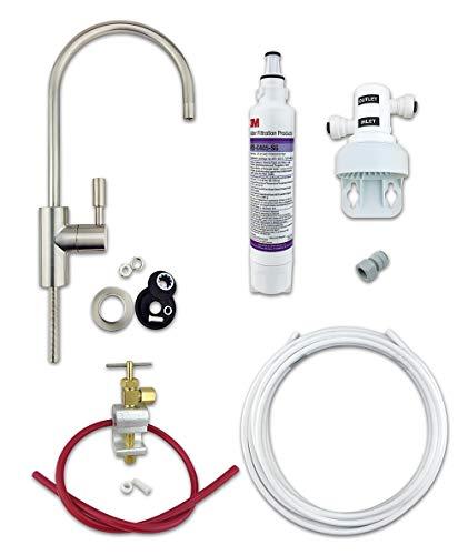 Kit filtro acqua potabile 3M (filtro nominale batteri) sistema completo fai da te con rubinetto in nichel spazzolato Premium