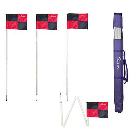 Kosma Set 4PC Faltbare Eckfahne | Faltbarer Eckfahnenmast für Fußballtraining Größe: 5 ft x 25 mm - Weiße Stange mit Metallstiften und Flaggen mit rot / schwarzem Quadrantenmuster - in der Tragetasche
