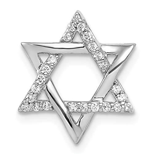 14k White Gold 1/8ct. Diamond Star of David Chain Slide (0.125 Ct Diamond)