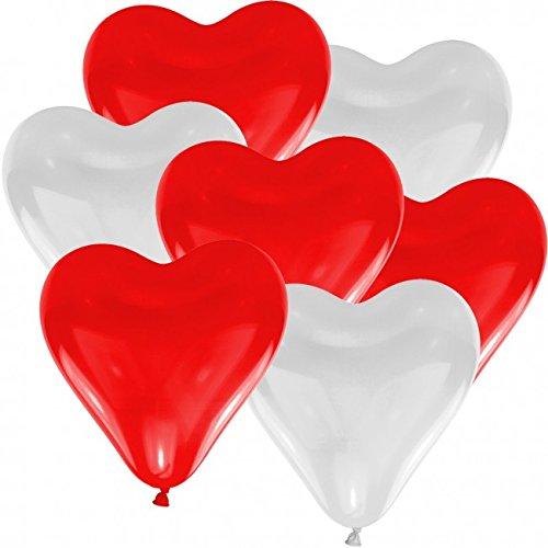 Doriantrade Herz Luftballons rot & weiß Herzballons 25 Stück, Helium Ballons, Ø 30cm, 100% Naturlatex, Luftballon, biologisch abbaubar