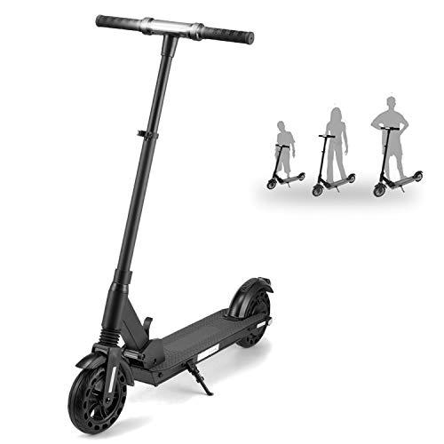 HST 8 Zoll 3-Gang-Modus Höhenverstellbare E-Scooter-Räder Aufblasbare Räder Faltbarer Elektroroller, 350 W, bis zu 25 km / h, 36 V 6 Ah mit LCD-Display Schwarz