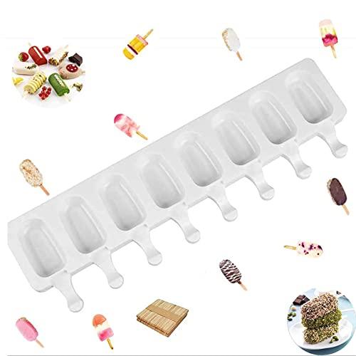 vitihipsy 8 Eisformen Zellen Silikon Gefrorene Eisform Rechteck Quadrat Wirbel Wirbel Eis Am Stiel Popform Kuchen Auf Stock Backform